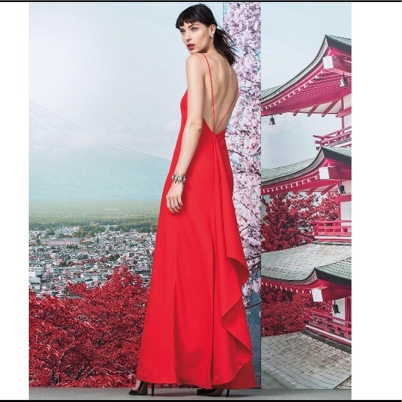 Cheap Sast Jill Jill Stuart asymmetric ruffle gown 2018 For Sale Red Pre Order Eastbay b6K24BKNj